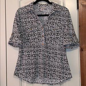 ♡3/$20♡ Rebecca Malone   Black & White Pattern Top